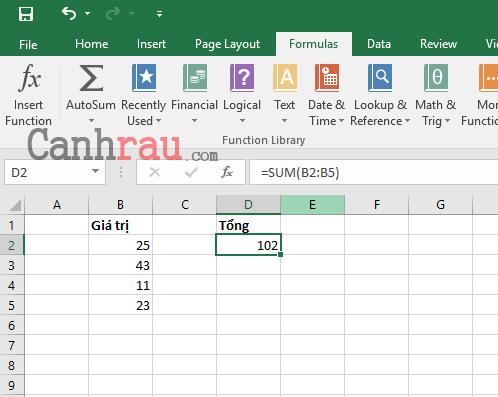 Cách tính tổng trong Excel hình 7
