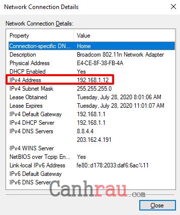 Cách xem địa chỉ IP trên máy tính hình 5