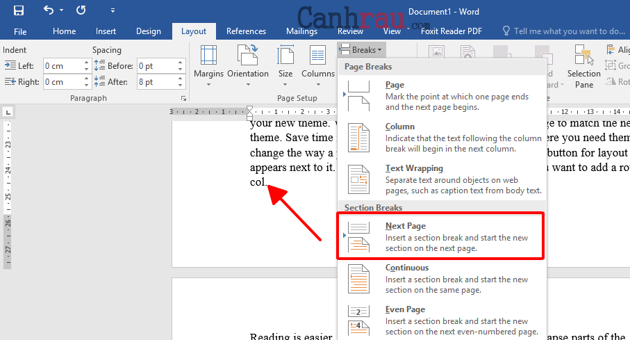 Cách xoay ngang một trang giấy trong Word hình 3