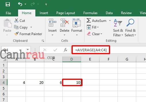 Công thức hàm Average tính trung bình cộng trong Excel hình 3