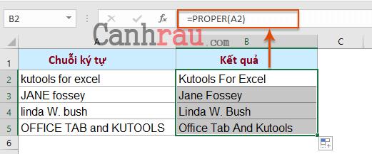 Hàm viết hoa chữ cái đầu tiên trong Excel hình 1