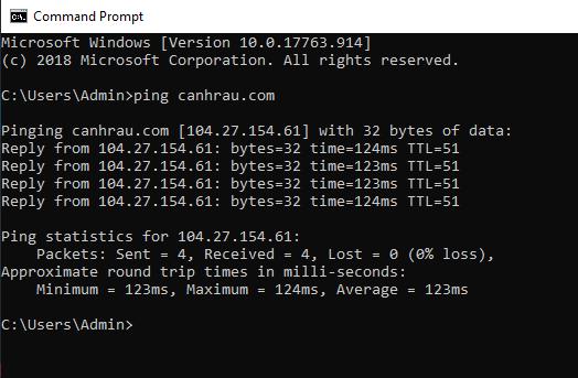 Lệnh test ping trên máy tính hình 2