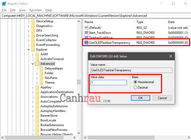 Cách làm trong suốt thanh Taskbar trên Windows 10 hình 5
