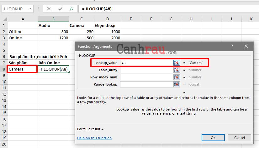 Cách sử dụng hàm hlookup trong Excel hình 3