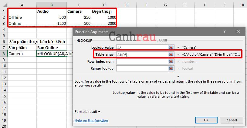Cách sử dụng hàm hlookup trong Excel hình 4
