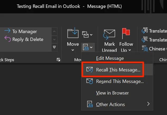 Thu hồi Email đã gửi trong Outlook hình 4
