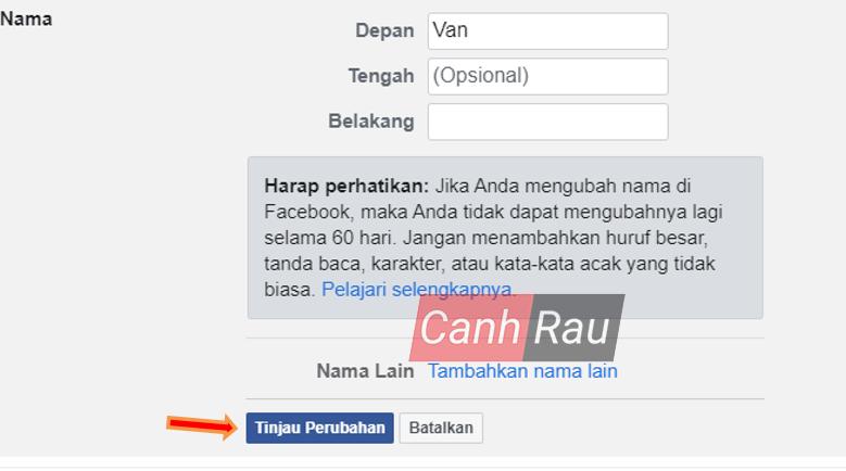 Cách đổi tên Facebook 1 chữ hình 9
