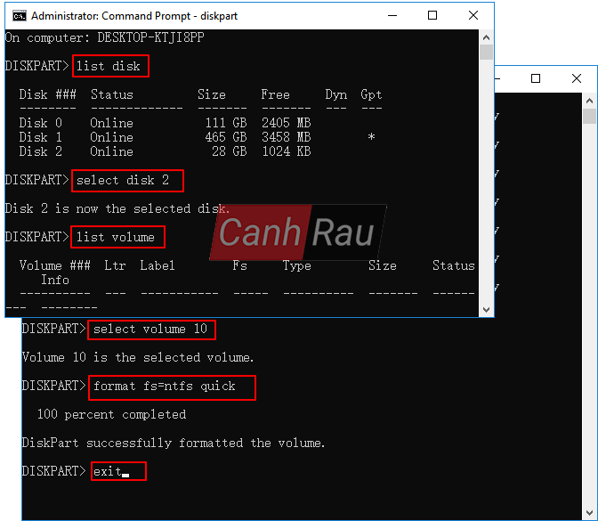 Cách format ổ cứng máy tính bằng cmd diskpart hình 3