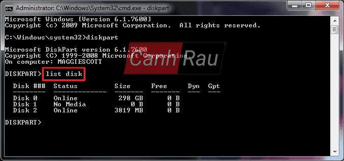 Cách format ổ cứng máy tính bằng cmd diskpart hình 6