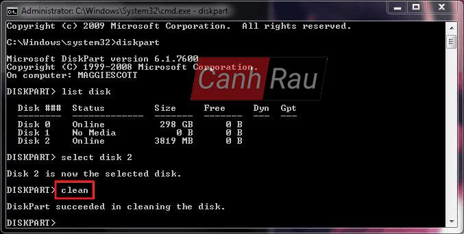 Cách format ổ cứng máy tính bằng cmd diskpart hình 8