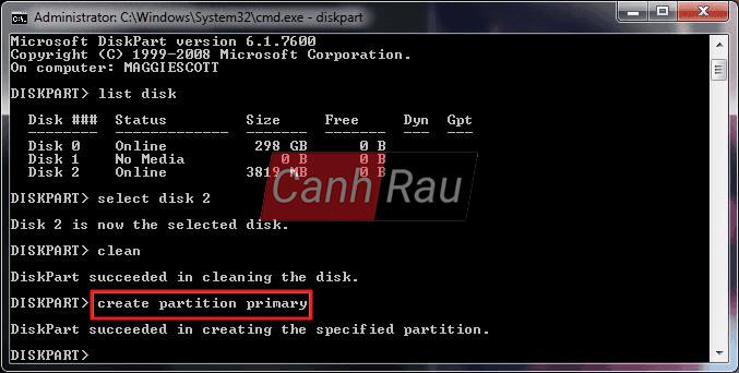 Cách format ổ cứng máy tính bằng cmd diskpart hình 9