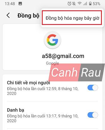 Cách lấy danh bạ từ Gmail về điện thoại hình 3