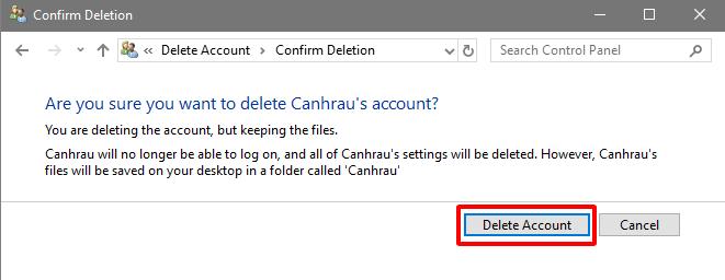 Cách xóa tài khoản User Account trên Windows 10 hình 9