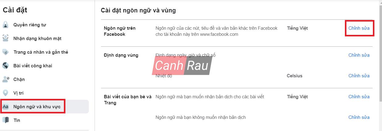 Cách đổi ngôn ngữ cho Facebook hình 3