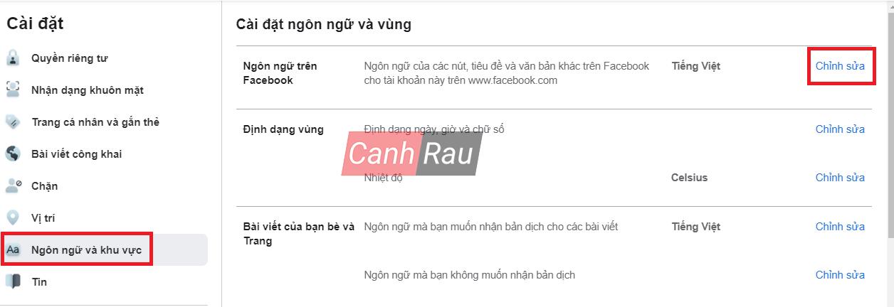 Cách đổi ngôn ngữ cho Facebook hình 7
