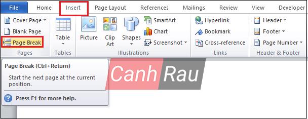 Cách ngắt trang trong Word hình 2