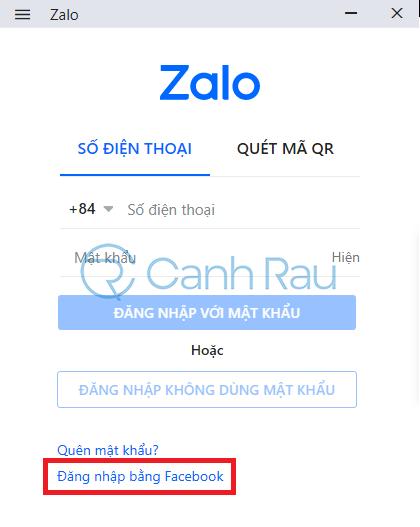Cách đăng nhập Zalo bằng Facebook hình 1