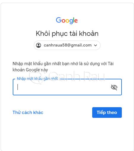 Hướng dẫn cách lấy lại mật khẩu Gmail hình 3