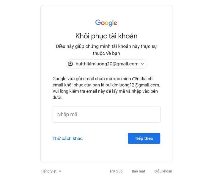 Hướng dẫn cách lấy lại mật khẩu Gmail hình 6