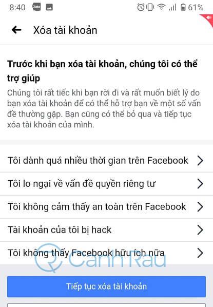 Cách xóa tài khoản Facebook hình 10