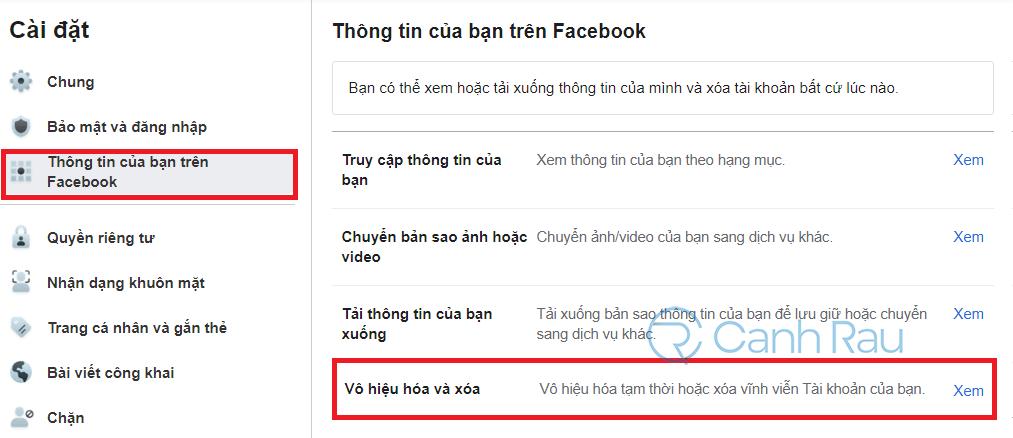 Cách xóa tài khoản Facebook hình 3