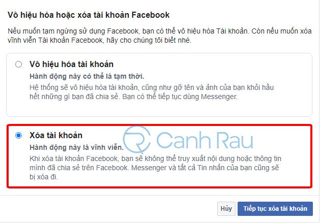 Cách xóa tài khoản Facebook hình 4