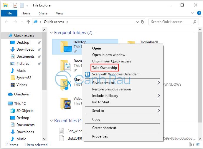 Cách bật tính năng Take Ownership trên Windows 10 hình 5