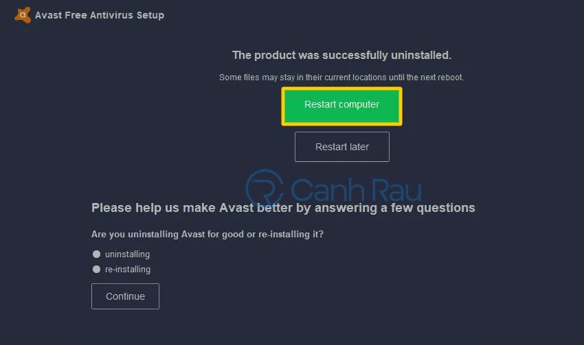 Cách gỡ cài đặt Avast Free Antivirus khỏi máy tính hình 8
