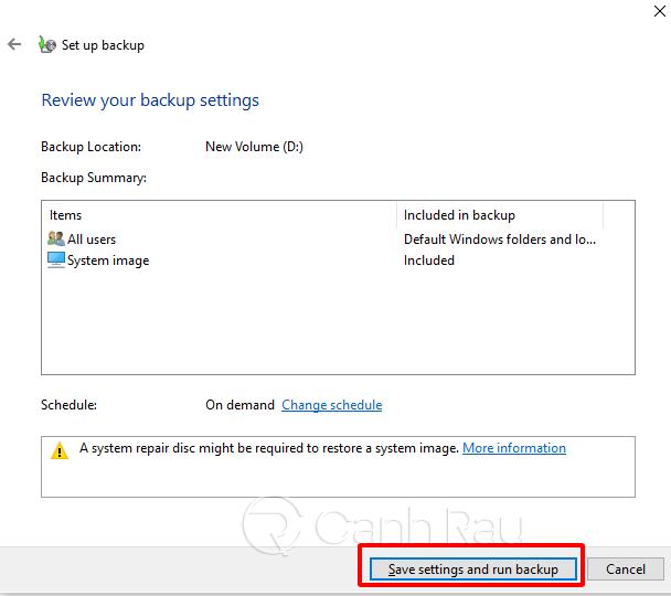 Hướng dẫn cách backup dữ liệu Windows 10 hình 9