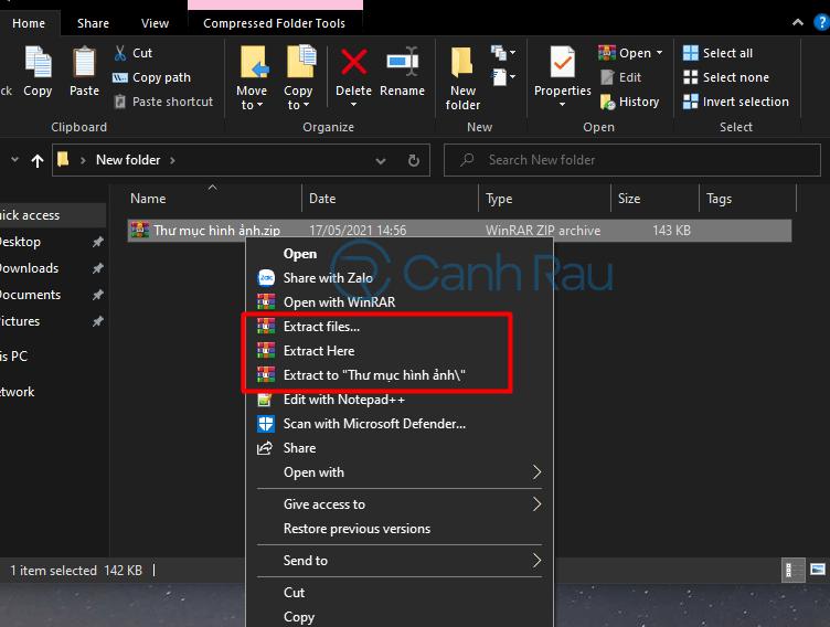 Hướng dẫn cách giải nén file ZIP trên máy tính hình 6