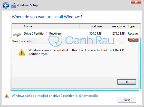 Sửa lỗi Windows cannot be installed to this disk. the selected disk is of the GPT partition style hình 6