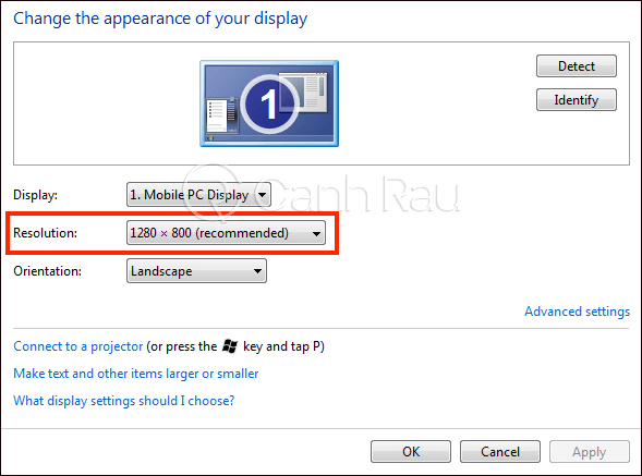 Cách chỉnh độ phân giải màn hình máy tính hình 5
