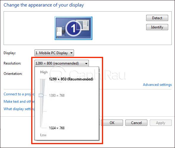 Cách chỉnh độ phân giải màn hình máy tính hình 6