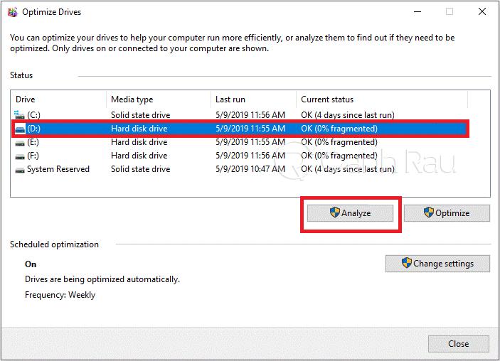 Cách chống phân mảnh ổ cứng Windows 10 hình 2