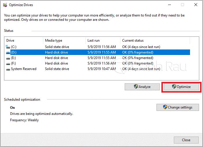 Cách chống phân mảnh ổ cứng Windows 10 hình 3