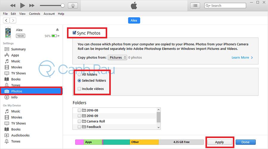 Cách chuyển hình ảnh từ iPhone ra máy tính bằng iTunes hình 4