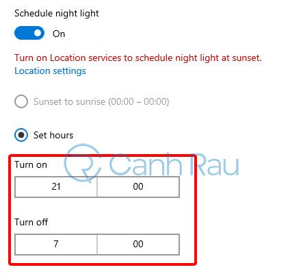 Hướng dẫn bật chế độ ban đêm Night Light cho Windows 10 hình 7