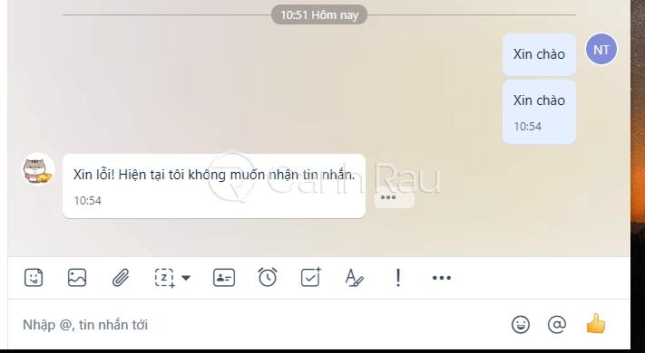 Xin lỗi hiện tại tôi không muốn nhận tin nhắn Zalo là gì hình 1