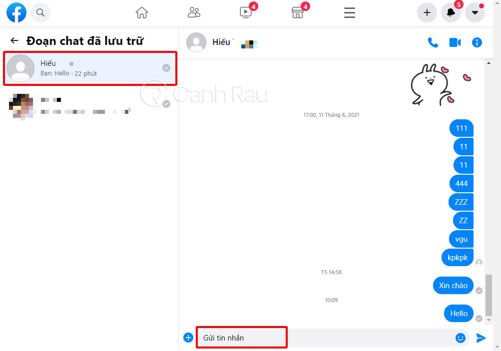 Cách bỏ lưu trữ tin nhắn trên Messenger hình 8