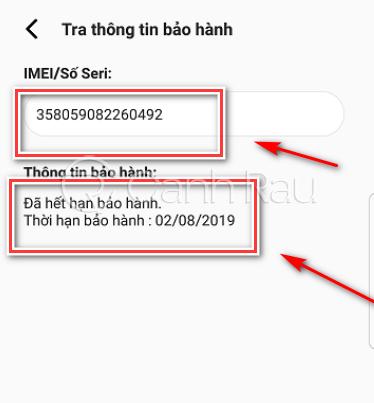 Cách kiểm tra bảo hanh máy Samsung hình 8