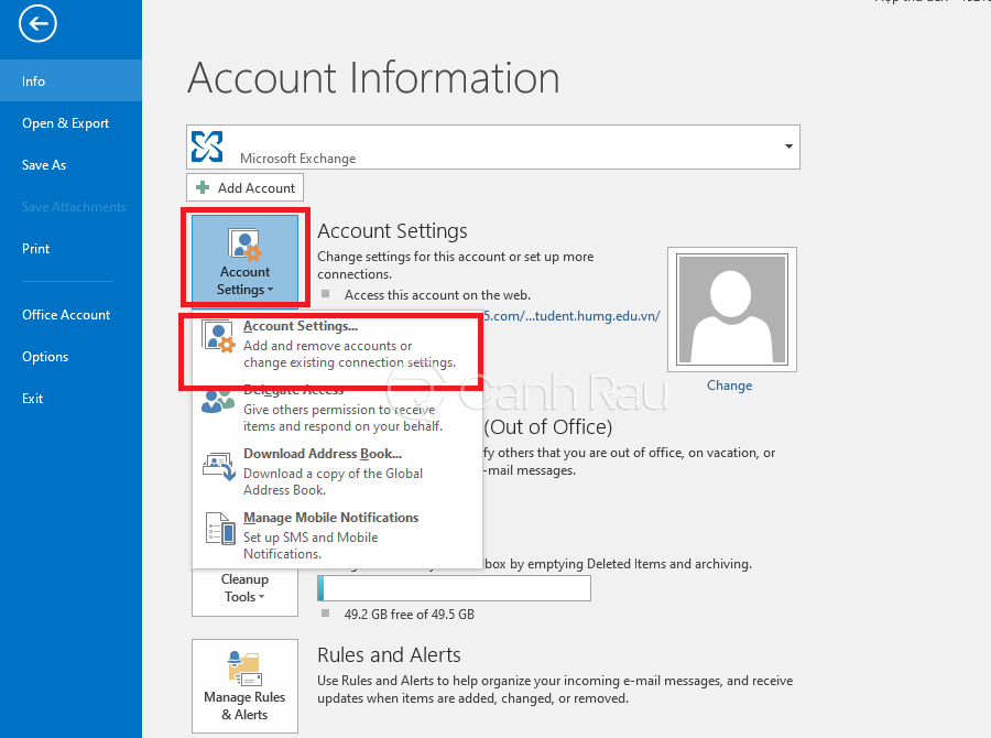Cách thoát tài khoản Outlook hình 9