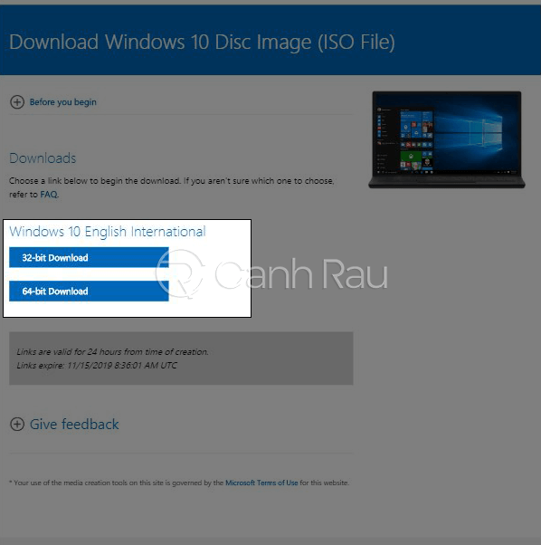 Hướng dẫn cách tải Win 10 ISO chính thức từ Microsoft hình 16