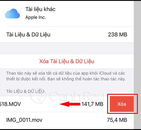 Hướng dẫn xóa bớt dung lượng iCloud bị đầy hình 11