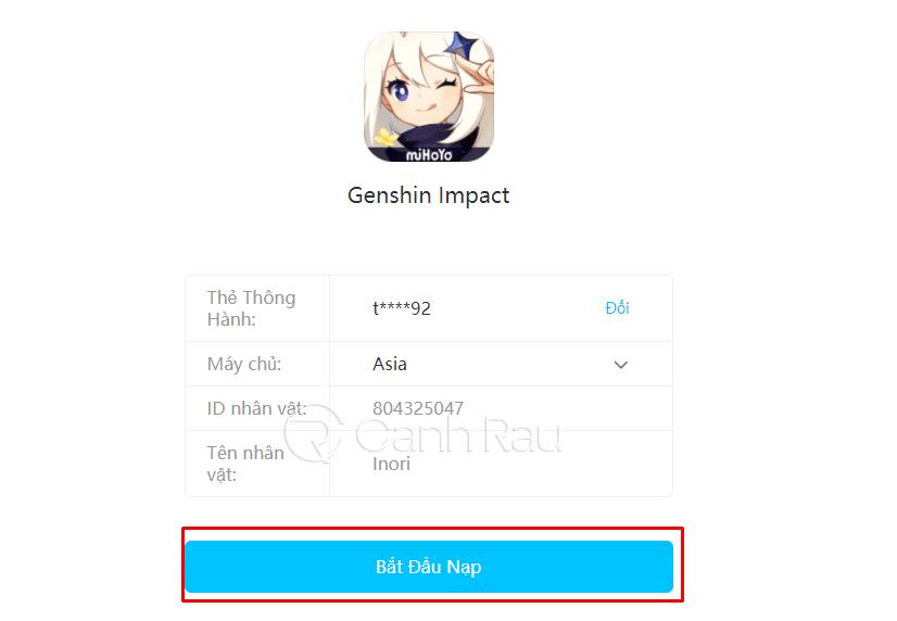 Hướng dẫn cách nạp thẻ Genshin Impact hình 2