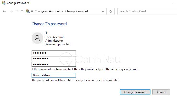 Hướng dẫn cách đổi mật khẩu máy tính Windows 10 hình 10